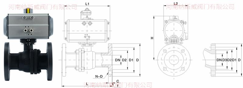 铸钢气动球阀结构图