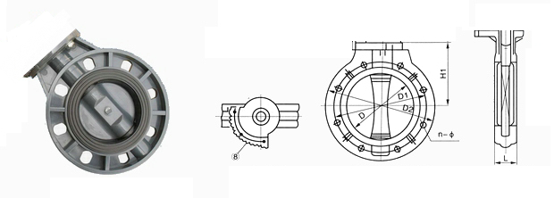 UPVC蝶阀结构图